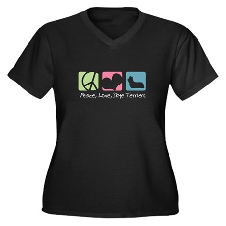 Peace, Love, Skye Terriers Women's Plus Size V-Nec
