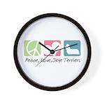 Peace, Love, Skye Terriers Wall Clock