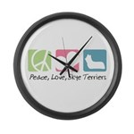 Peace, Love, Skye Terriers Large Wall Clock