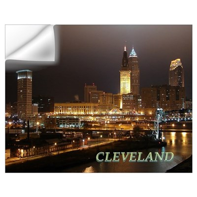 cleveland at night Wall Decal