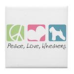 Peace, Love, Wheatens Tile Coaster
