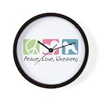 Peace, Love, Wheatens Wall Clock