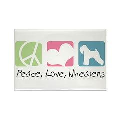 Peace, Love, Wheatens Rectangle Magnet