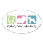 Peace, Love, Wheatens Sticker (Oval 10 pk)