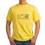 Peace, Love, Spinones Yellow T-Shirt