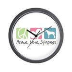Peace, Love, Spinones Wall Clock