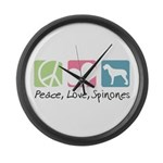 Peace, Love, Spinones Large Wall Clock