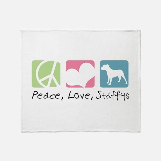 Peace, Love, Staffys Throw Blanket