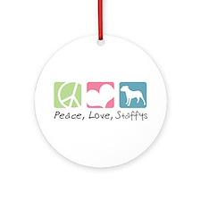 Peace, Love, Staffys Ornament (Round)