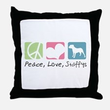 Peace, Love, Staffys Throw Pillow