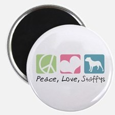 """Peace, Love, Staffys 2.25"""" Magnet (100 pack)"""