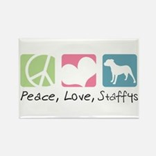 Peace, Love, Staffys Rectangle Magnet (10 pack)