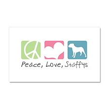 Peace, Love, Staffys Car Magnet 20 x 12