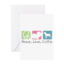 Peace, Love, Staffys Greeting Card