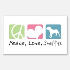 Peace, Love, Staffys Decal