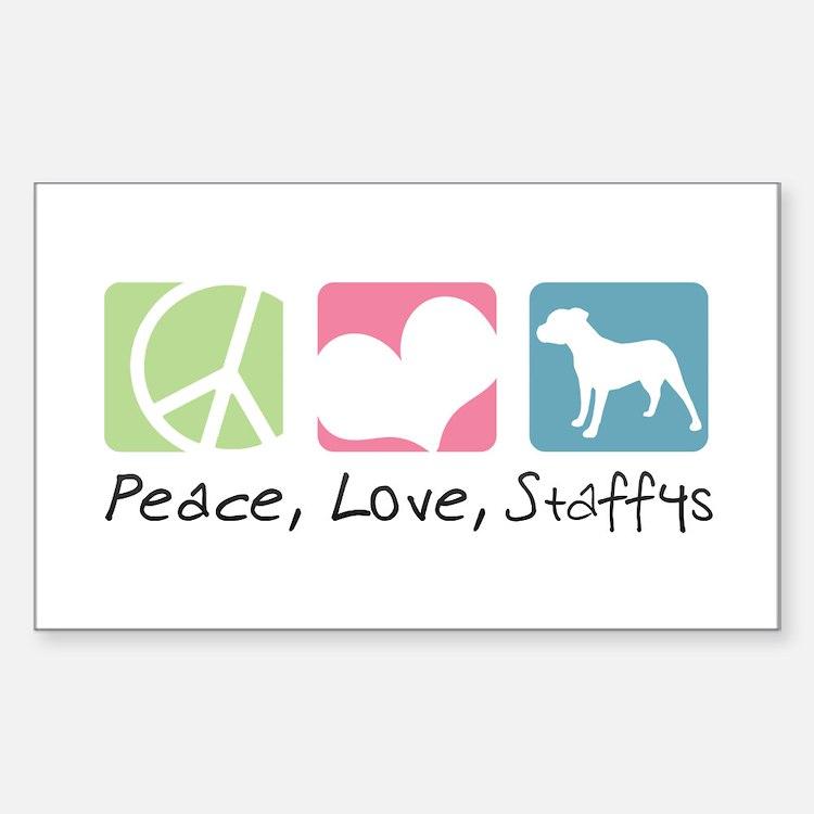 Peace, Love, Staffys Decal