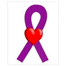 Purple Ribbon Heart Framed Print
