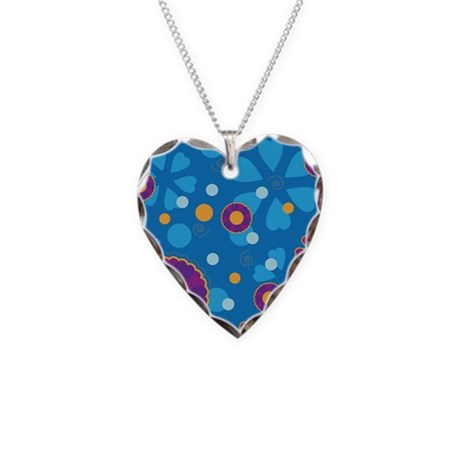 Groovy Flowers Necklace Heart Charm
