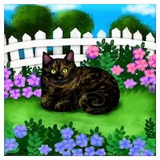 TORTOISESHELL CAT GARDEN FLOWERS Poster