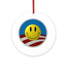 Obama Smiley Logo Ornament (Round)