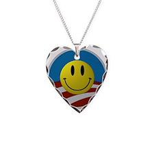 Obama Smiley Logo Necklace Heart Charm