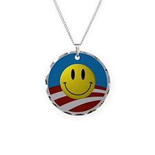 Obama Smiley Logo Necklace Circle Charm