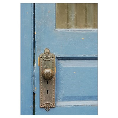 Blue Door Knob Canvas Art