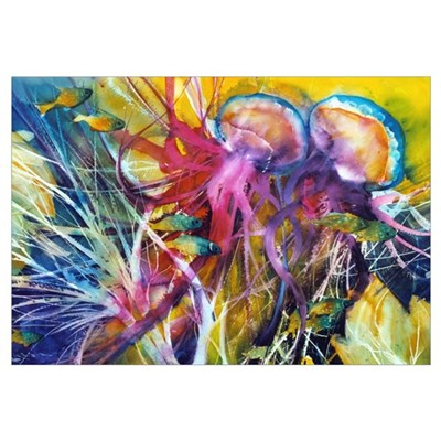 Jellyfish Reef Print Canvas Art