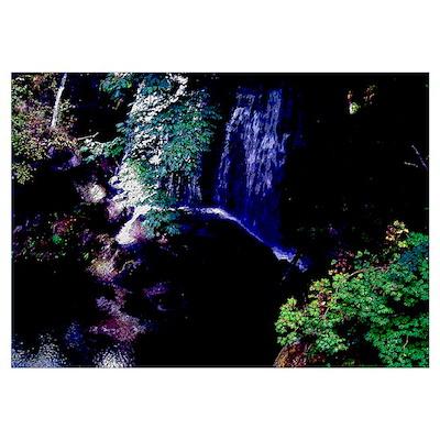 Waterfall At Night Poster