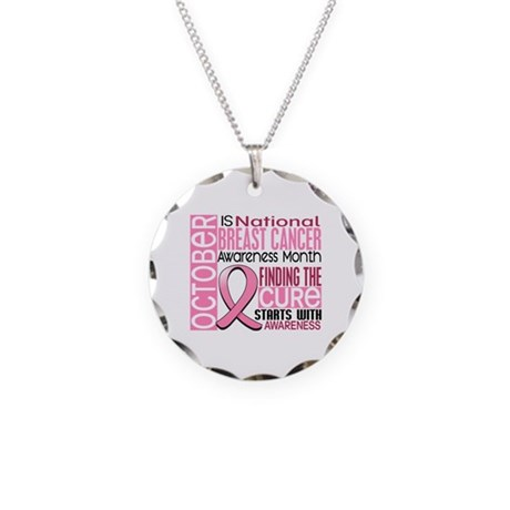 Breast Cancer Awareness Month Necklace Circle Char