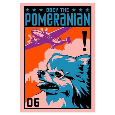 Obey the Pomeranian! Large Propaganda Framed Print