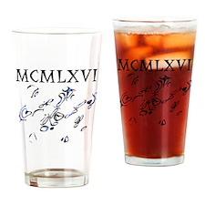 MCMLXVI, 1966, Roman Numerals Drinking Glass
