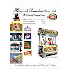 Honker's Canadian Sports Bar Beer List Poster