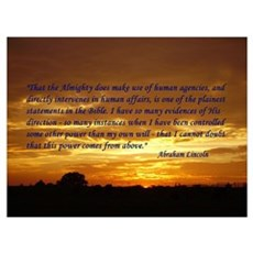 "Lincoln's ""God Does"" on sunset Large Fra Poster"