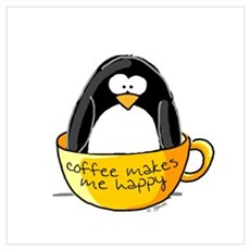 Coffee penguin Canvas Art