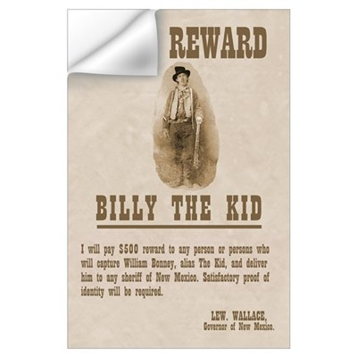 Billy The Kid $500 Reward Print Wall Decal