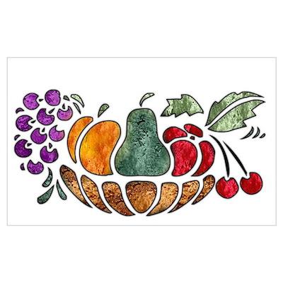 Nature Art Fruit Bowl Design Poster