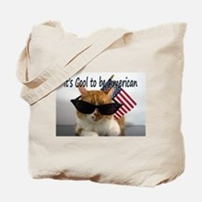 Cool Cat with American Flag Tote Bag