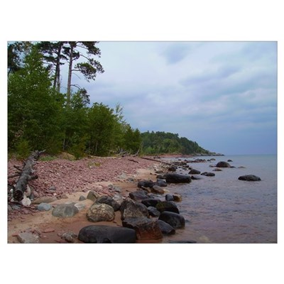 Superior Shore (cloudy day) Framed Print