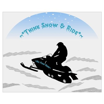 Think Snow and Ride Snowmobiling Canvas Art