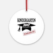 Custom Kindergarten Nailed It Round Ornament