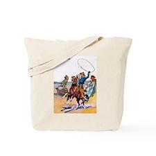 Wild West Cowboy Bear Roping Tote Bag