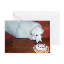 Great Pyrenees Greeting Card, Birthday Cake