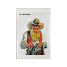 Wild West Cowboy Cleaning Gun Rectangle Magnet