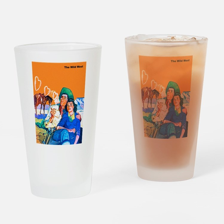 Wild West Cowboy & Cowgirl Lovers Drinking Glass