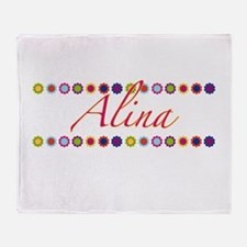 Alina with Flowers Throw Blanket