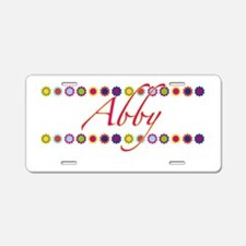 Abby with Flowers Aluminum License Plate