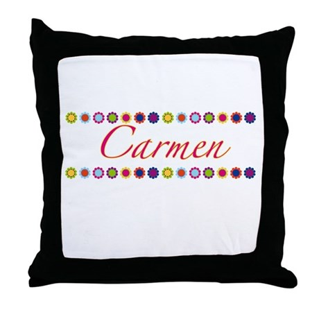 Carmen with Flowers Throw Pillow