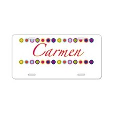 Carmen with Flowers Aluminum License Plate