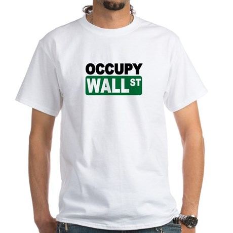 Occupy Wall St. White T-Shirt